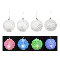 A mix of 4 pretty glitter baubles with LED colour function