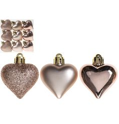 An assorted box of rose gold heart shaped baubles in matt, shiny and glitter finishes.