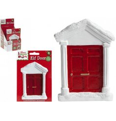This miniature red Elf door will allow your Elf to report back to Santa each night after his daily surveillance