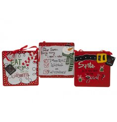 An assortment of 3 colourful and humorous Christmas plaques with red ribbon hangers.