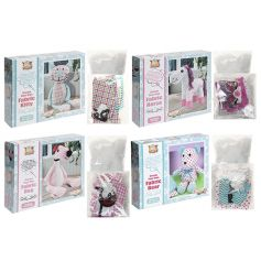 A mix of 4 crafty sew your own animal kits with vintage inspired fabrics.