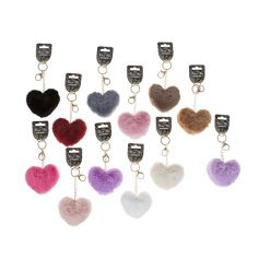 An assortment of 12 heart shaped pom pom key rings.