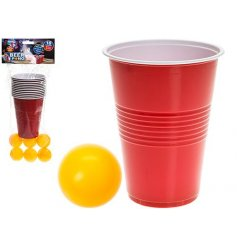 An 18pc Beer Pong Set with cups and balls