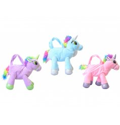 A mix of 3 magical unicorn shaped handbags with glitter detailing and coloured mane and tail.
