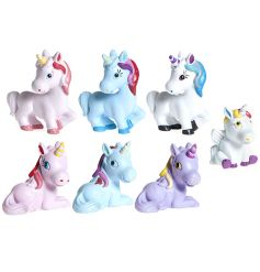 A mix of standing, sitting and lying unicorn figures in pastel colours. A magical pocket money priced item.