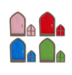 A mix of 4 coloured fairy doors. Perfectly sized for placing on your skirting board or around the home.