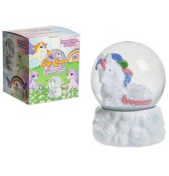 A magic unicorn water globe with glitter. Comes with a colour gift box.