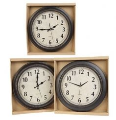 A chic classic clock in 3 assorted designs. A stylish item to compliment many interior themes.