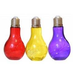 An assortment of 3 LED giant coloured light bulbs