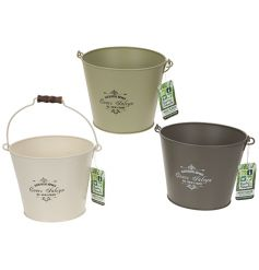 3 assorted vintage style bucket planters in cream, sage and green colours. A great gift item and garden accessory.