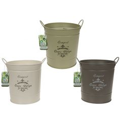 A mix of 3 compost bins with lids and twin handles. Each has a vintage design and comes in garden green or cream colours