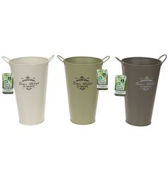 An assortment of garden planter buckets in a mix of colours and added vintage print decal