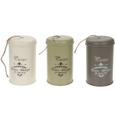 A mix of garden coloured vintage twin sets including a storage tin and twine. A great gift idea.