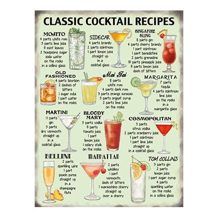 Mini Metal Sign - Classic Cocktails