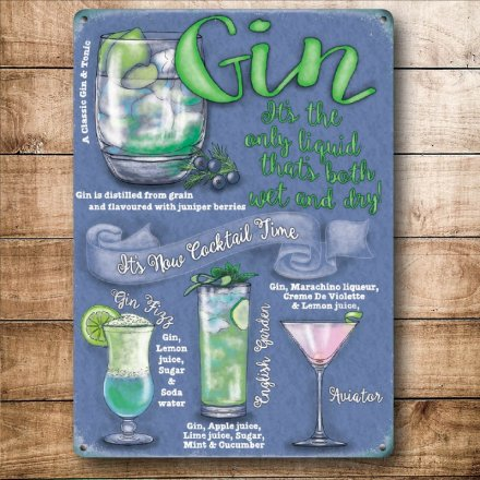 Gin Cocktails Mini Metal Sign