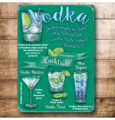 A retro themed mini metal sign with an assortment of Vodka Cocktails