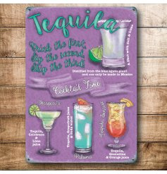A retro themed mini metal sign with an assortment of Tequila Cocktails