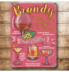 A retro themed mini metal sign with an assortment of Brandy Cocktails