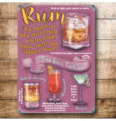A retro themed mini metal sign with an assortment of Rum Cocktails