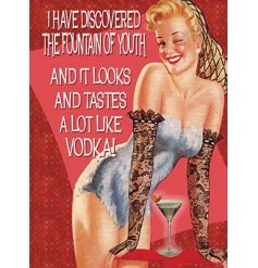 This vintage styled metal sign will look great in any space where theres vodka!