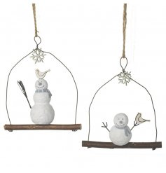 A mix of 2 charming snowmen decorations. Each is sat on a perch with an adorable bird ornament.