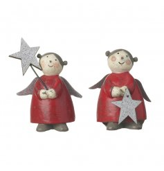 A vintage style angel figure with a silver glitter star. A charming Christmas decoration to be treasured.