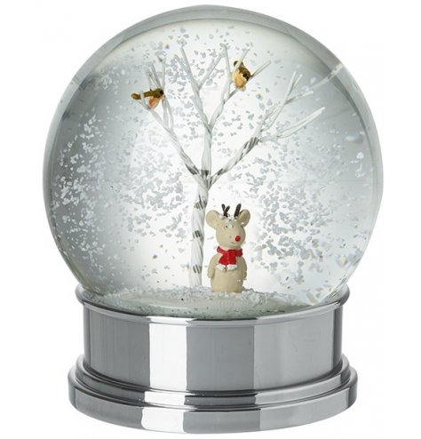 A classic snow globe with a shiny silver base and woodland twig trees. Complete with a cute mouse decoration