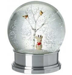 An utterly charming snow globe with a Christmas mouse sat inside a woodland scene.