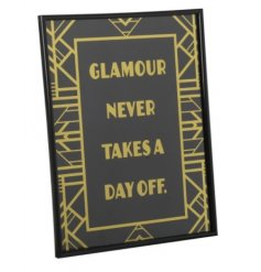 Glamour Picture  This stylish Gatsby themed wall plaque will be sure to make a statement look in your home