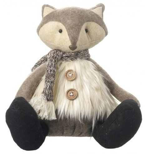 A cute sitting woodland fox decoration with a faux fur waistcoat, wooden buttons and knitted scarf.