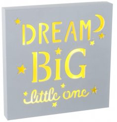 Dream Big Little One. A stylish white LED sign. A gorgeous sign for your special little one. A beautiful decoration.