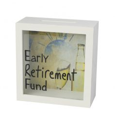 A stylish retirement fund money box. A great leaving gift and keepsake item for your retirement adventures.