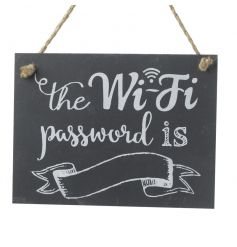 A rustic style hanging WI-FI password sign with jute string hanger. Perfect for home, shops and cafes.