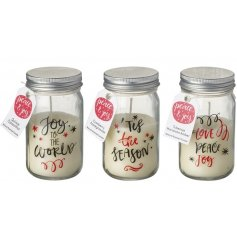 A mix of 3 peace and joy miniature mason jar candles with festive slogans.