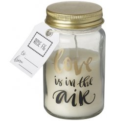 Love is in the air. A pretty rose fig scented candle in a miniature mason jar with a love slogan.