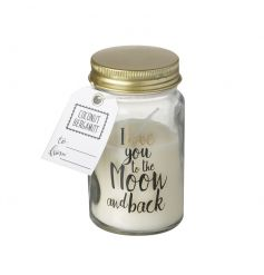 A beautifully scented coconut bergamot candle set within a mini mason jar with gold lid and moon & back slogan.