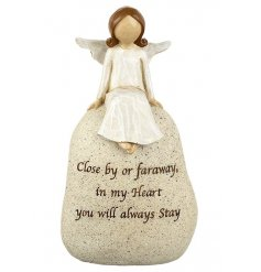 Close by or far away, in my heart you will always stay. A sentiment angel stone.
