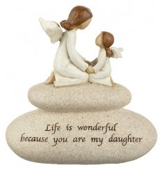 This chic stone with mother and daughter angel has a sweet sentiment slogan. A lovely keepsake item.