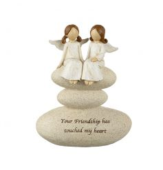 Your friendship has touched my heart. A beautiful sentiment gift with two angels perched on a stone.