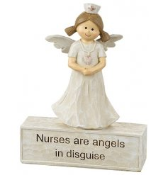 Nurses are angels in disguise. A beautiful sentiment gift item with a nurse angel.