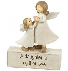 A beautiful angel ornament with a daughter and mother angel. A lovely sentiment gift item.