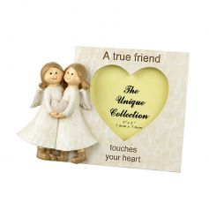 A shabby chic style photo frame with a lovely friendship sentiment and twin angel ornament.