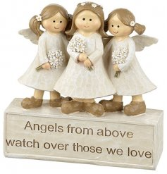 Angels from above watch over those we love. A lovely sentiment decoration with angels holding flowers.