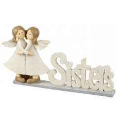A cream shabby chic sisters sign with two hugging angels.
