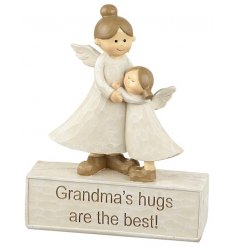 A beautiful sentiment gift with twin hugging angels and a Grandma slogan. A great gift item.