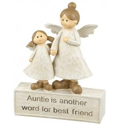 A beautiful sentiment gift item with two angel decorations and a lovely auntie slogan.