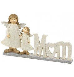 A shabby chic Mum sign with twin angel ornaments. A pretty sentiment gift item.