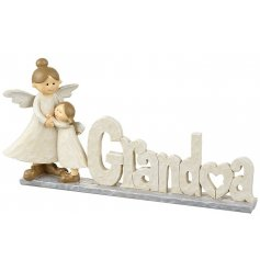A shabby chic inspired Grandma sign with two angel ornaments. A lovely sentiment gift item.