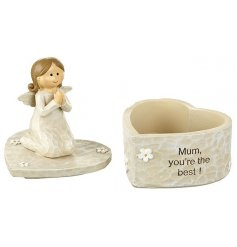 An adorable heart shaped trinket box with an angel figure and 'Mum you're the best' slogan.