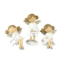 A mix of 3 sitting and standing guardian angel figures with heart or star plaques. A lovely sentiment gift item.